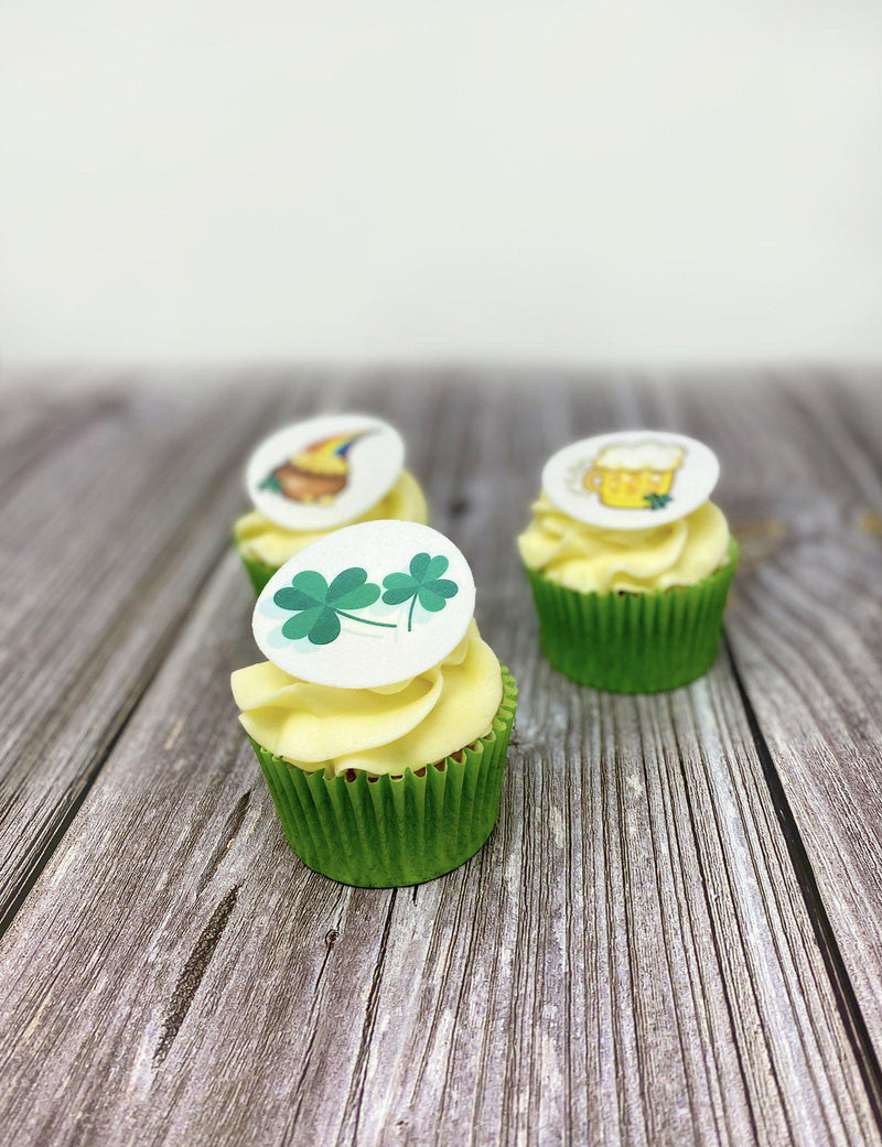 St Patrick's Day cupcakes with edible toppers - Lucky Logos