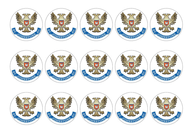 Printed cupcake toppers featuring the St Johnstone Badge