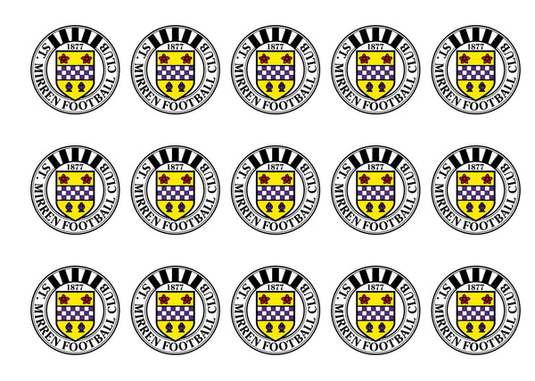 Printed cupcake toppers featuring the St Mirren FC Badge