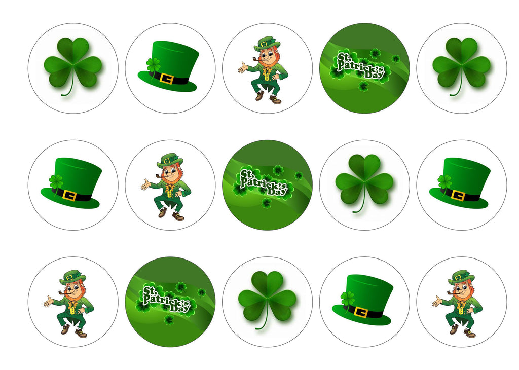 Edible cupcake toppers printed with images to celebrate St Patricks Day