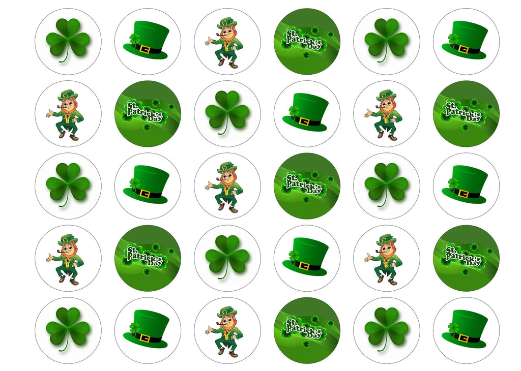 Printed edible cupcake toppers for St Patrick's Day