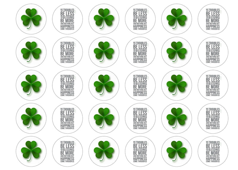 38mm printed edible cupcake toppers with a St Patricks Day Blessing