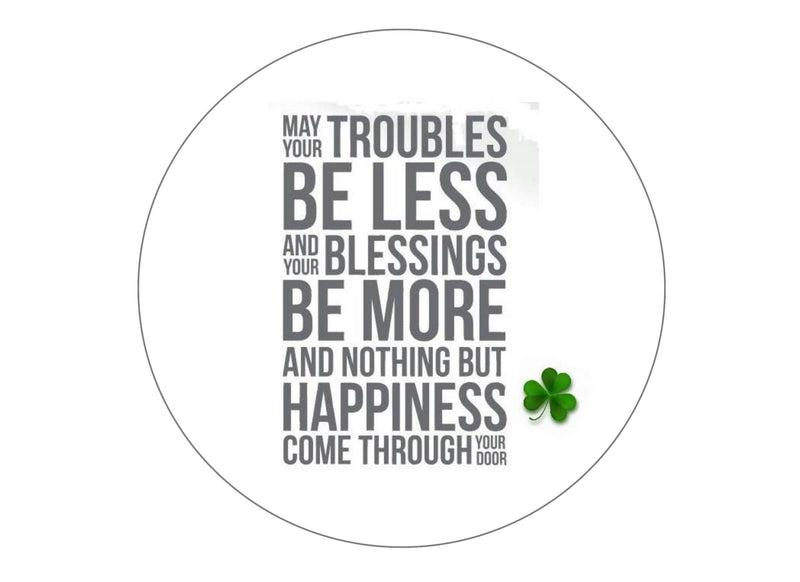 190mm printed edible cake topper with a Blessing by St Patrick