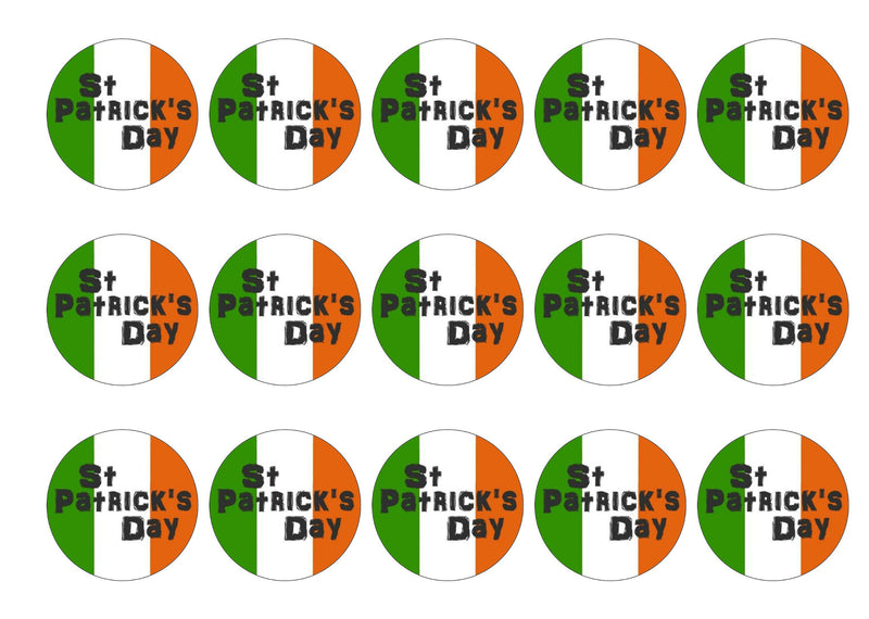 12 printed cupcake toppers with the flag of Ireland for St Patrick