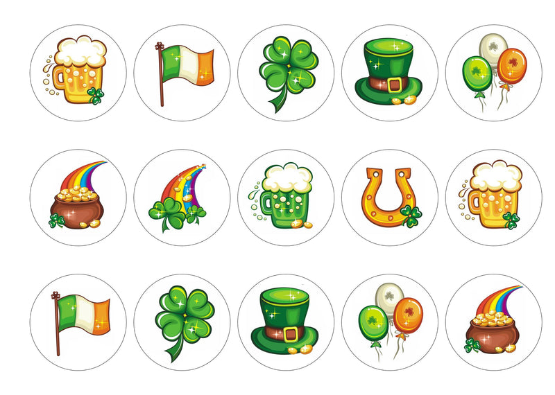 Printed cupcake toppers with St Patricks Day images