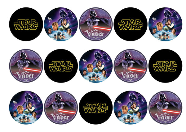 15 printed cupcake toppers with images from Star Wars