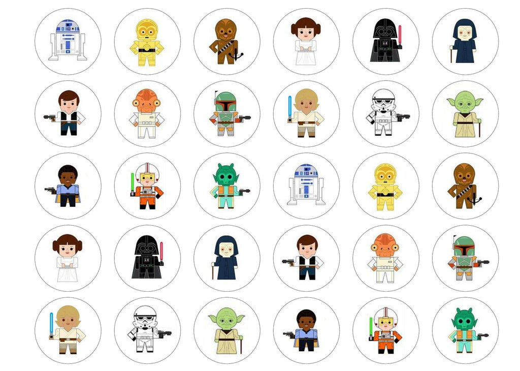 Edible printed cupcake toppers with Star Wars cartoons