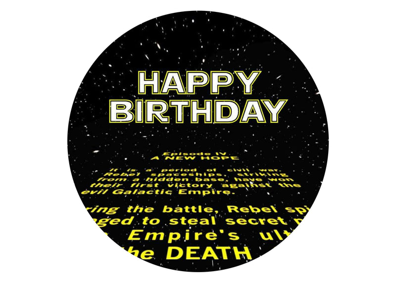 Edible printed cake topper with Star Wars text