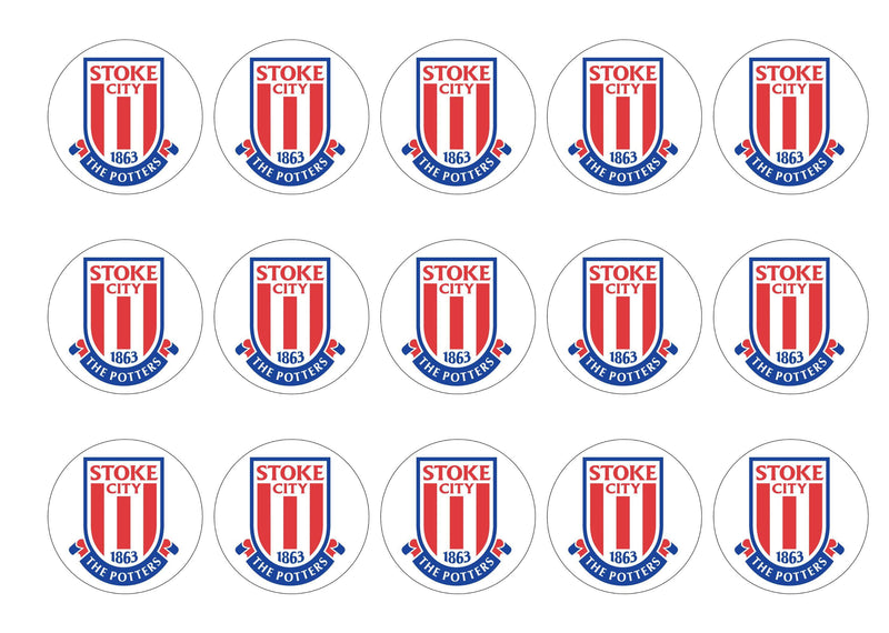 15 printed cupcake toppers with the Stoke City FC badge - The Potters