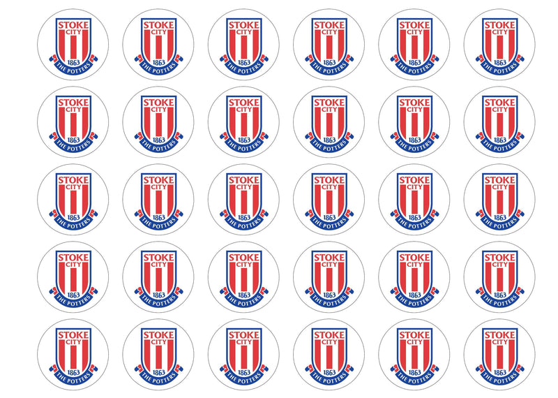 30 edible cupcake toppers with the Stoke City FC badge - The Potters
