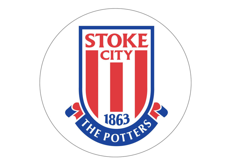Large round cake topper with the Stoke City FC badge - The Potters