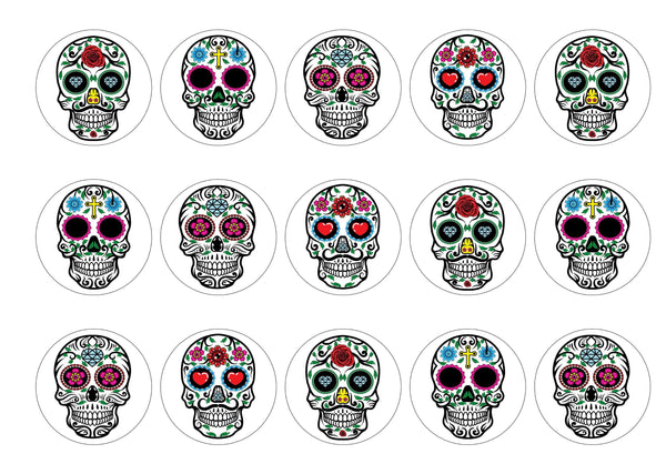 15 printed cupcake toppers with sugar skull images