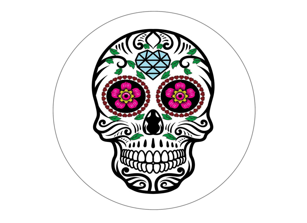 large printed cake topper with a sugar skull design
