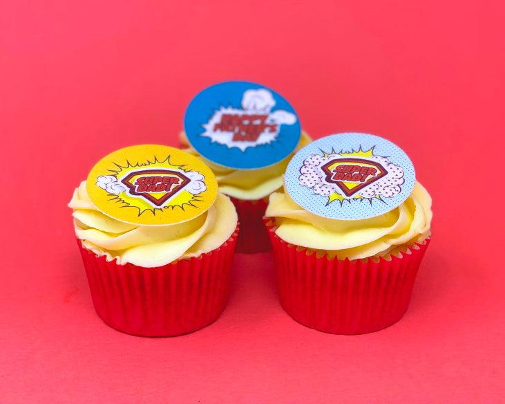 Superdad cupcake toppers for Father's Day