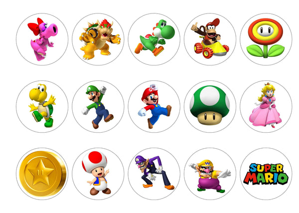 15 printed cupcake toppers with characters from Super Mario