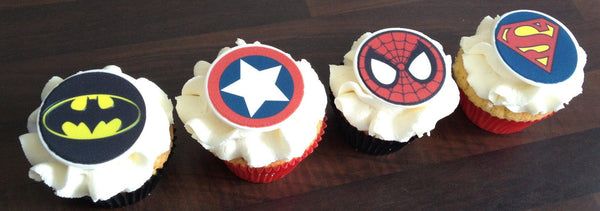 Printed edible superhero cupcake toppers featuring Captain America, Wonderwoman, Superman, Spiderman, Ironman, The Hulk, Batman, The Flash, The Green Lantern