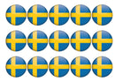 15 cupcake toppers with Sweden flag