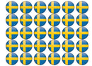 30 edible toppers with the swedish flag