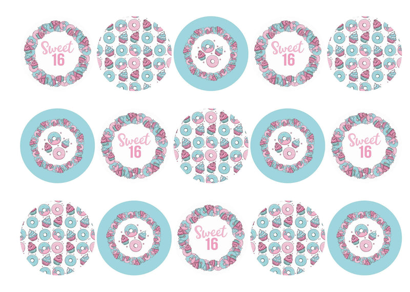 15 printed cupcake toppers with images for a sweet sixteenth party