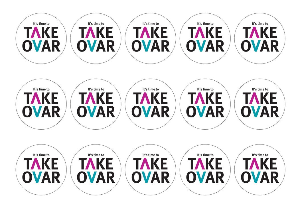 15 printed cupcake toppers for the charity Target Ovarian Cancer - Take Ovar