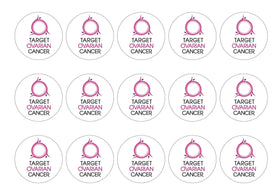 15 printed cupcake toppers for the charity Target Ovarian Cancer