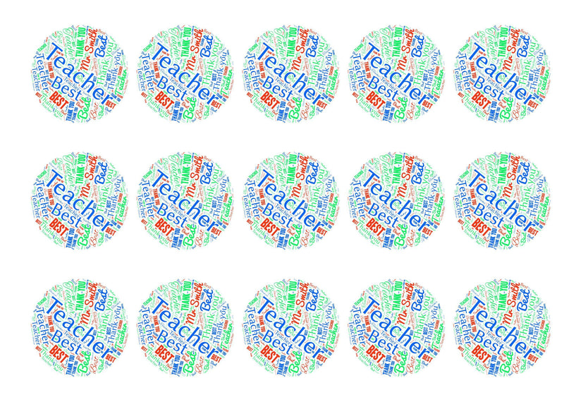 Printed edible cupcake toppers personalised for teacher