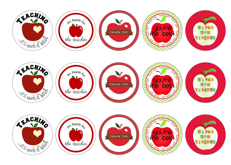 15 printed cupcake toppers with images of apples for teachers