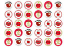 30 edible cupcake toppers with images of apples for teachers