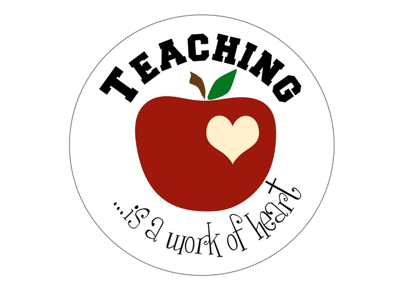 Large cake topper with images of an apple for teacher
