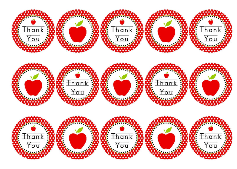 15 printed cupcake toppers to say thank you to your teacher