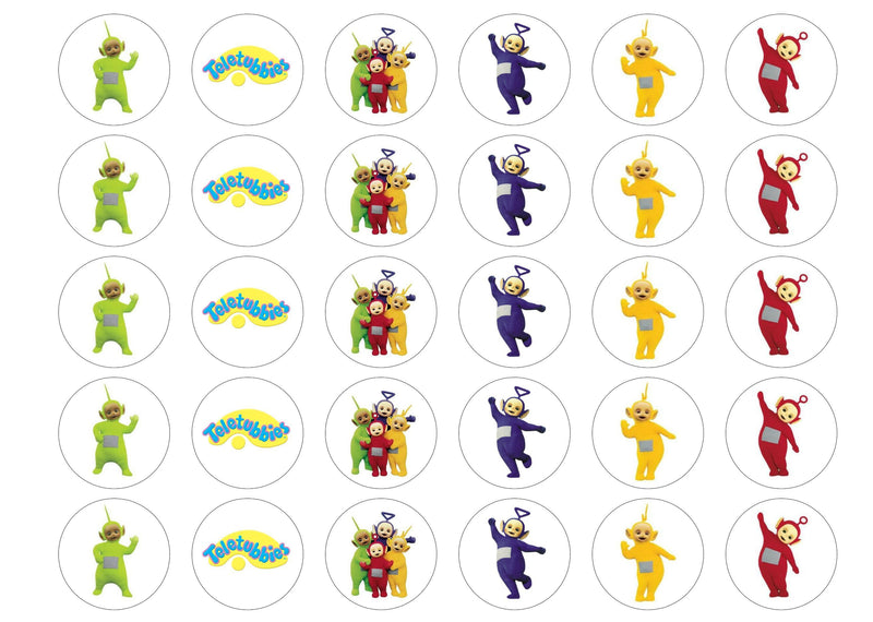 Printed edible cupcake toppers with the Teletubbies
