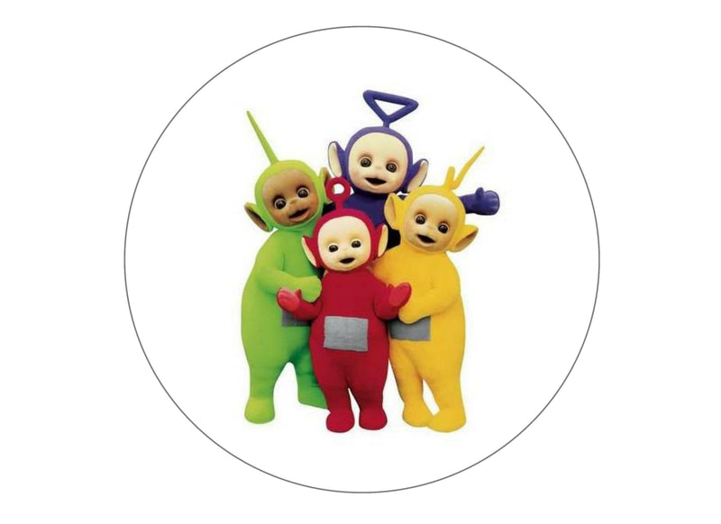 Printed edible cake topper with the Teletubbies