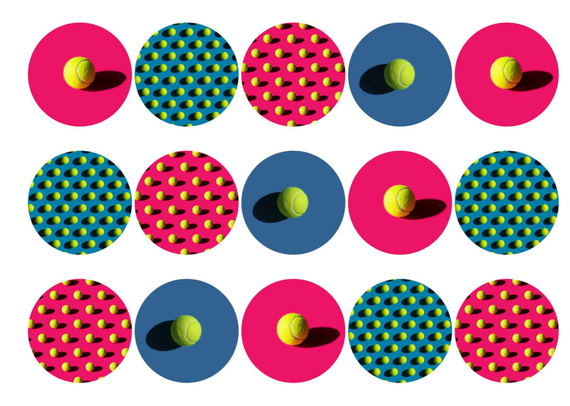 15 printed cupcake toppers with tennis ball images