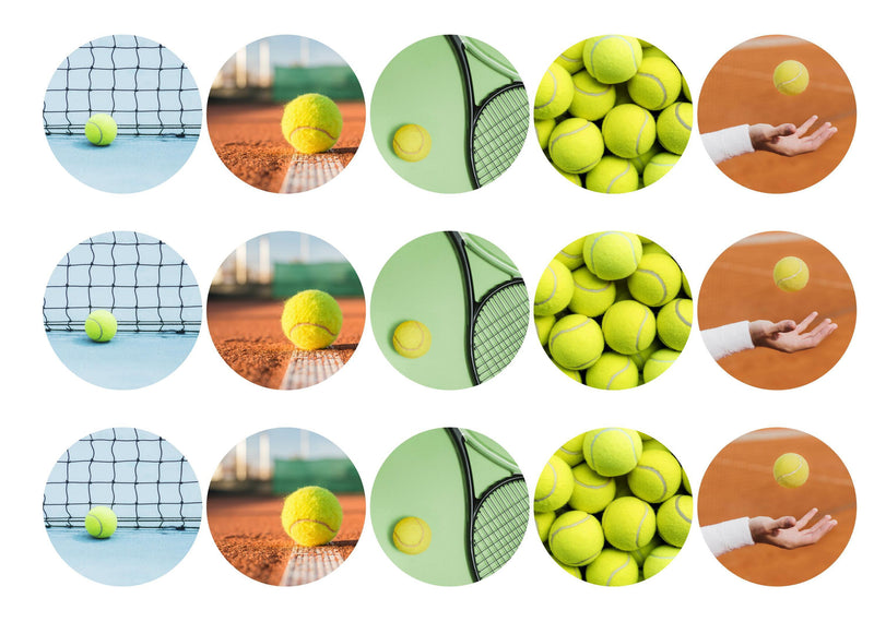 15 printed cupcake toppers with tennis equipment