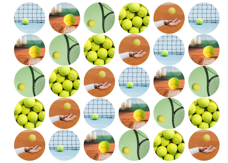 30 edible cupcake toppers with tennis equipment