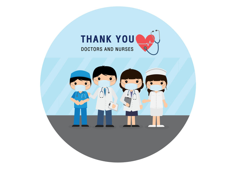 Large printed cake topper with thank you toppers for the doctors and nurses working during the coronavirus outbreak