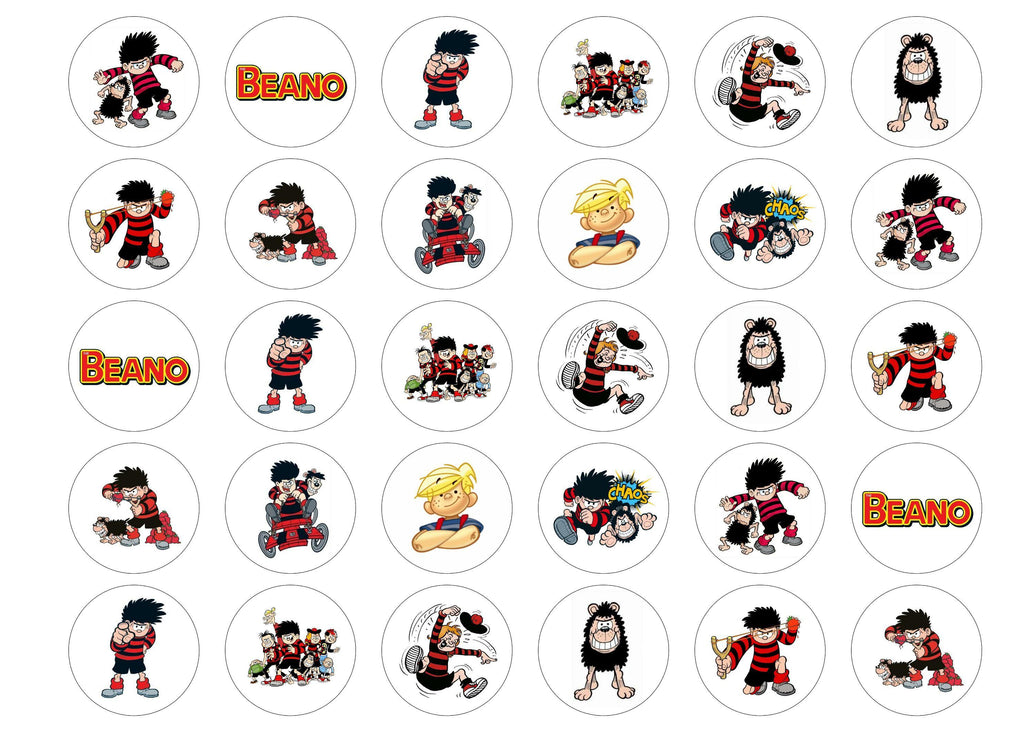 Printed edible cupcake toppers with images from the Beano