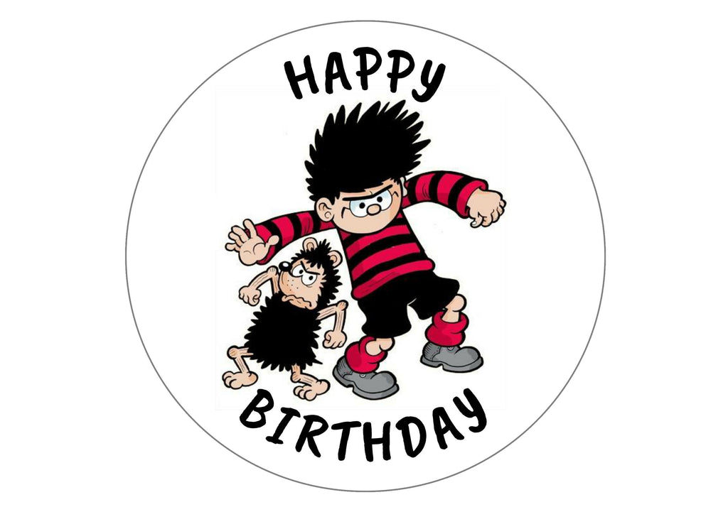 Printed edible birthday cake topper with image from the Beano