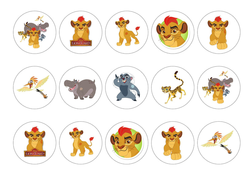 Edible printed cupcake toppers with images from the Lion Guard