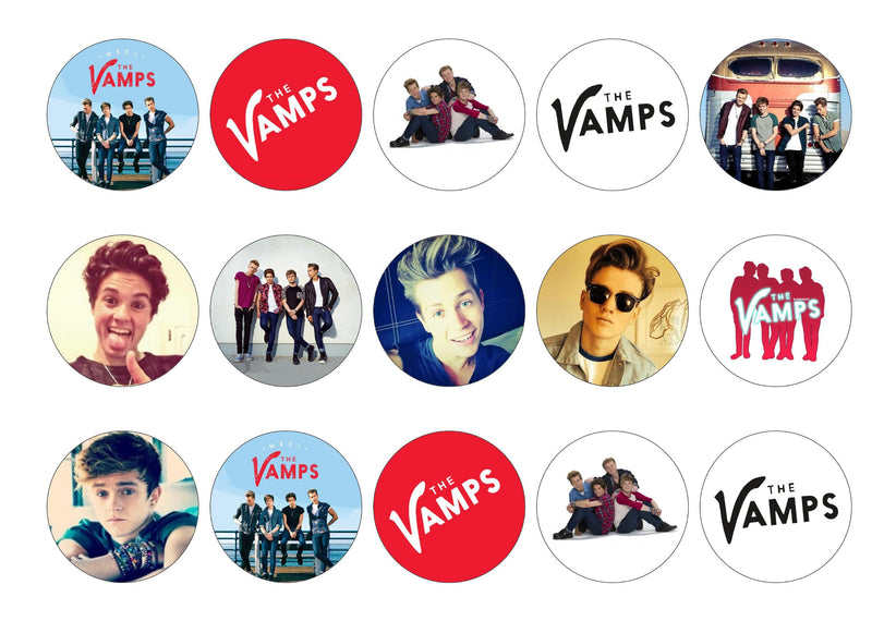 Printed edible cupcake toppers with images of The Vamps