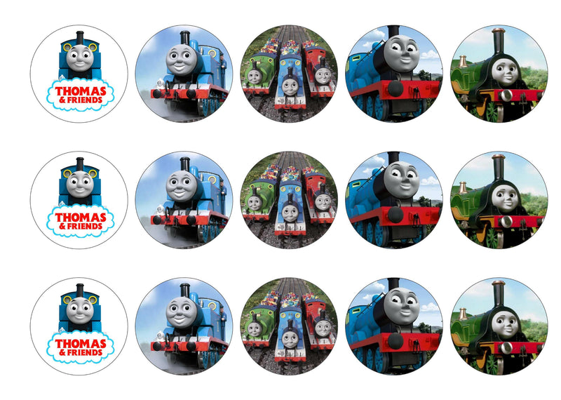 Printed cupcake toppers with images from Thomas the Tank Engine