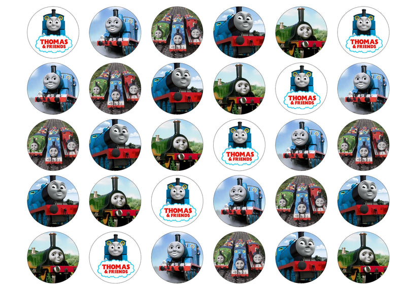 Edible cupcake toppers with images from Thomas the Tank Engine