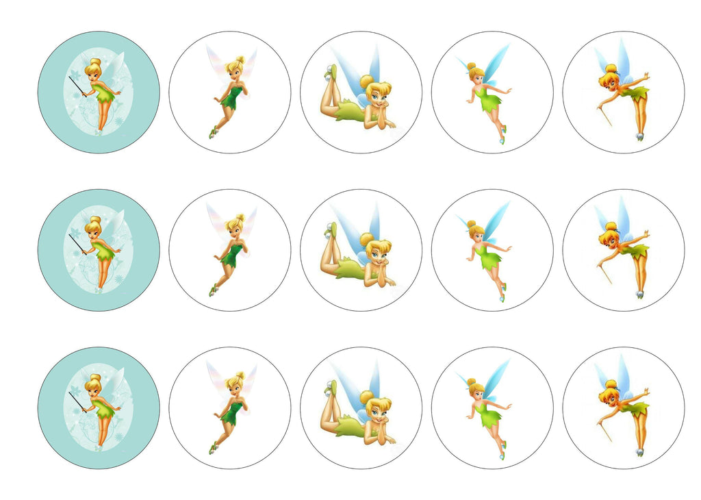 Edible printed cupcake toppers with images of Tinkerbell