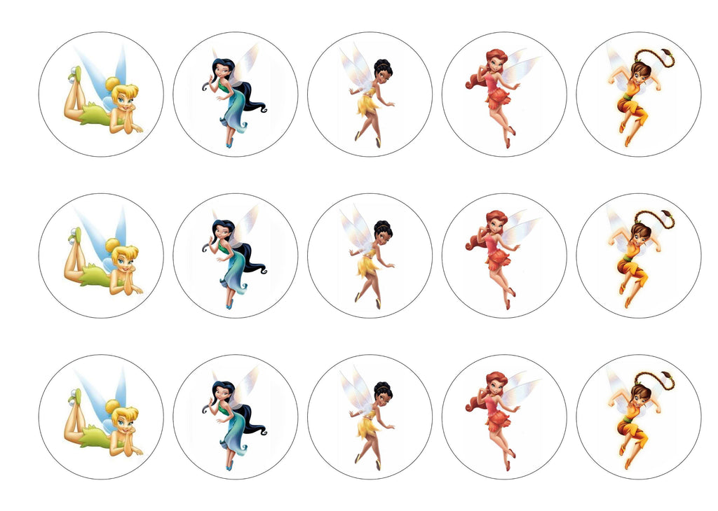 Edible printed cupcake toppers with images of Tinkerbell and friends