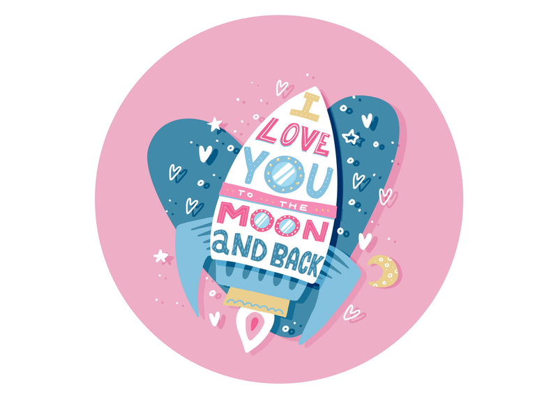 Large cake topper with rocket ship and I love you to the moon and back print