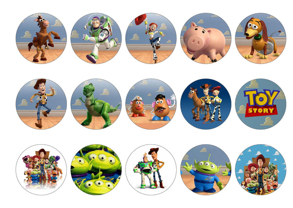 15 printed cupcake toppers with Toy Story images