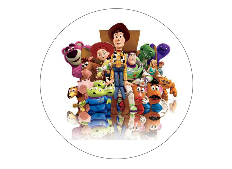 Large cake topper with a Toy Story image