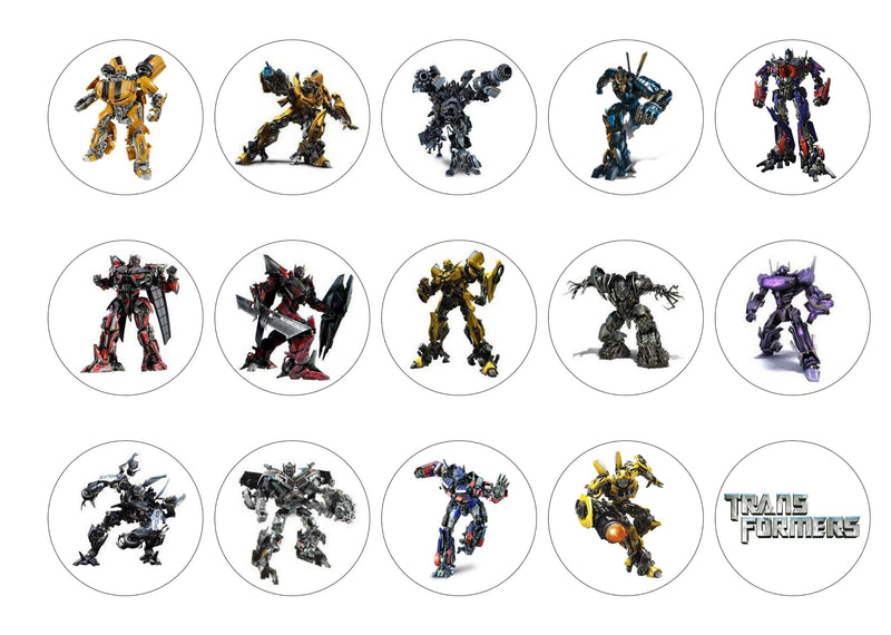 15 printed cupcake toppers with images of the Transformers