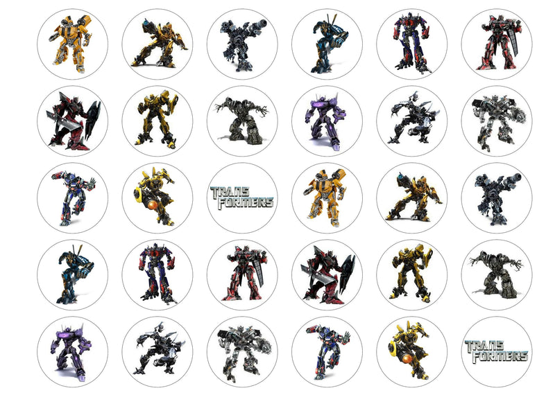 30 edible cupcake toppers with images of the Transformers