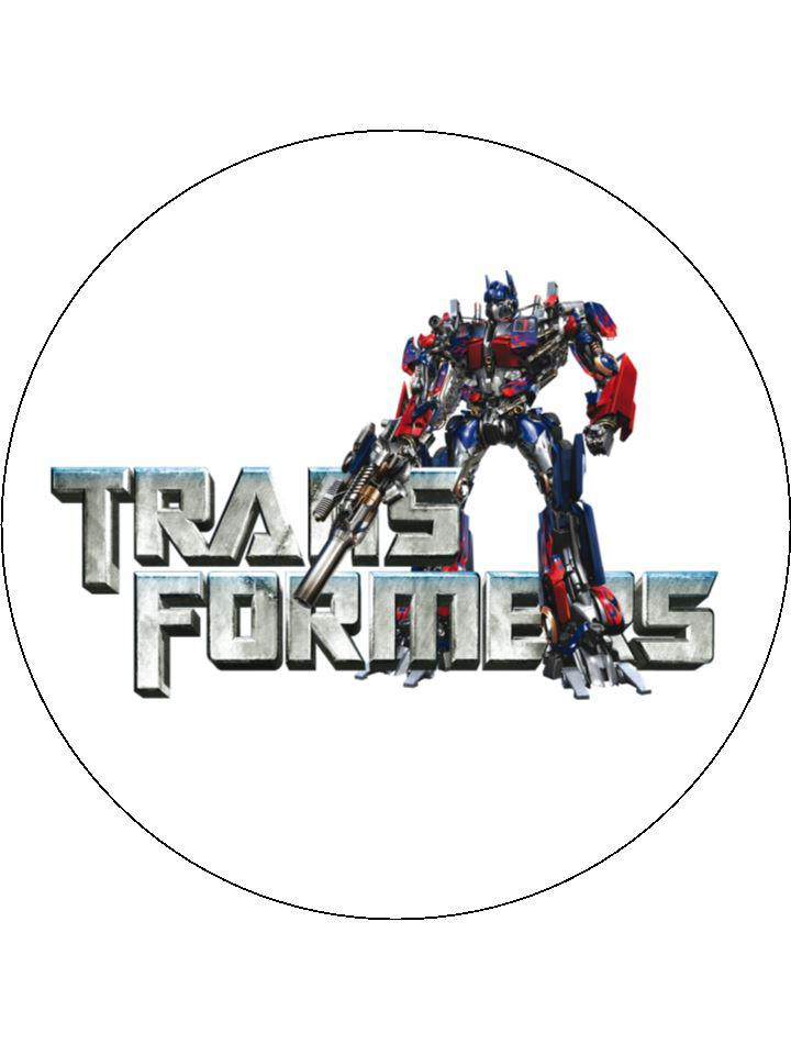 Large cake topper with images of the Transformers